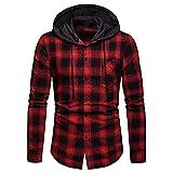 Kilborn·pataky Men's Flannel Shirts Long Sleeve Flannel Hoodie Lightweight Hoodied Plaid Button Closure Shirt Red Black
