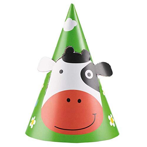 Amscan 9900382 - Partyhüte Bauernhof, 8 Stück, Größe 16,2 cm, mit Gummiband, mehrfarbige Motive, Papierhut, Hut, Kappe, Accessoire, Farm, Tiere, Farm Fun, Kuh, Kinderparty, Geburtstag, Karneval