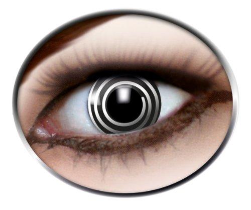 1 Paar Motivlinsen Kontaktlinsen Jahreslinsen BLACK SPIRAL Spirale - schwarz weiß - black and white Cartoon Linsen