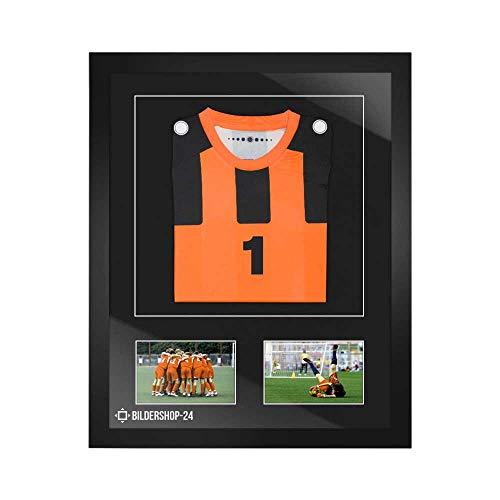 Bilderrahmen Trikotrahmen stabil RahmBig Schwarz 50 X 70 cm Rahmen für Trikots, Sport Shirts + Passepartout Schwarz