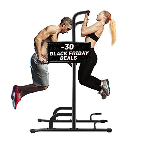 MaxKare Power Tower Workout Dip Stand Pull Up Station Bar Professional Strength Training Fitness Exercise Equipment Home Gym 4 Adjustable Height