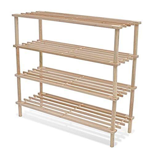 XUSHEN-HU Estante de madera para zapatos de 4 niveles
