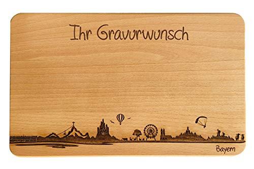 Brotzeitbrett Bayern Skyline | Frühstücksbrettchen aus Buche | Holz Schneidbrett | Geschenk mit Gravur | Bundesland Bayern | Frühstücksbrett (Standard (22x14x1cm), mit persönlicher Gravur)