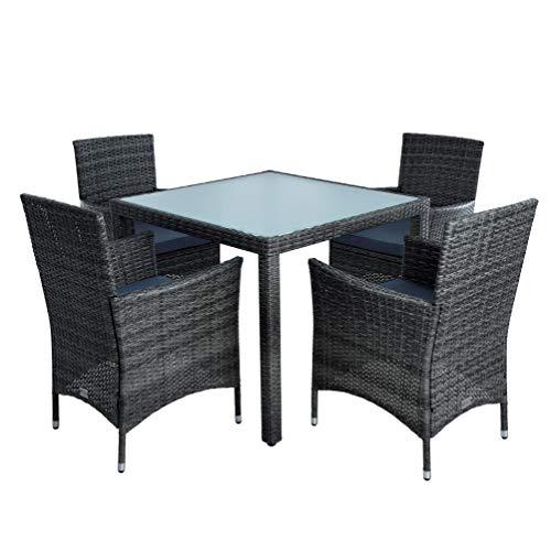 ESTEXO Polyrattan Gartenmöbel Set Sitzgruppe Rattan Gartenset Essgruppe Stuhl Tisch Set Garten Tisch und Stuhl Set 4 Personen Glas Glastisch (Anthrazit-Grau)