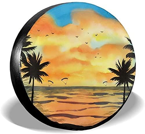 Sunset Beach - Cubierta para neumáticos de repuesto,poliéster,universal,de 16 pulgadas,para ruedas de repuesto,para remolques,vehículos recreativos,SUV,ruedas de camiones,camiones,caravanas,accesorio