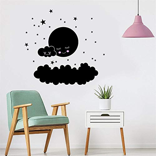 Olivialulu Big cloud smiley kleinen stern wandaufkleber kinderzimmer dekoration hause druckwand kunst cartoon diy aufkleber z0425# G20 @ bk_China