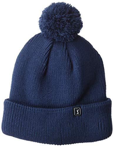 PGA TOUR Men's Knit Beanie Hat, Black Iris Navy with pom pom, On Size Fits Most