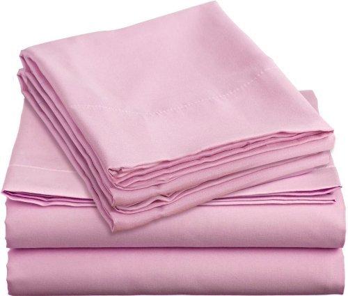 Tula Linen 800 Hilos 100% algodón Egipcio sólido Juego de Fundas de edredón y de Almohada de 135 x 200 cm + 2 Funda 50 x 80 cm Primera Calidad Color Rosado