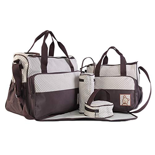 Diaper Bag Changeable Diaper Backpack Multifunctional Five Sets of Five Pieces Mother Bag Mummy Bag Mother Bag Bulk Composition Mummy Bag, Versatile and Stylish, Suitable for mom (Color : Coffee)