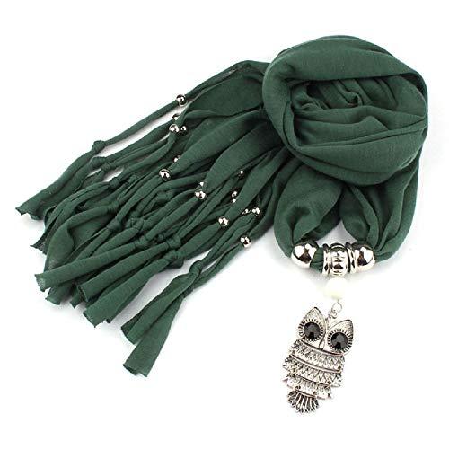 Covermason Damen Mädchen Quasten Halskette Schal Schals Wraps Eule Anhänger Schmuck Schals (D)