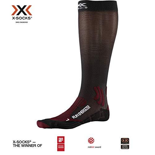X-Bionic Run Energizer, Calzini Unisex-Adulto, Dark Ruby/Opal Black, 42-44