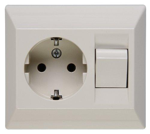 Kopp 190301082 Schutzkontakt-Steckdose mit Universalschalter, Schalter