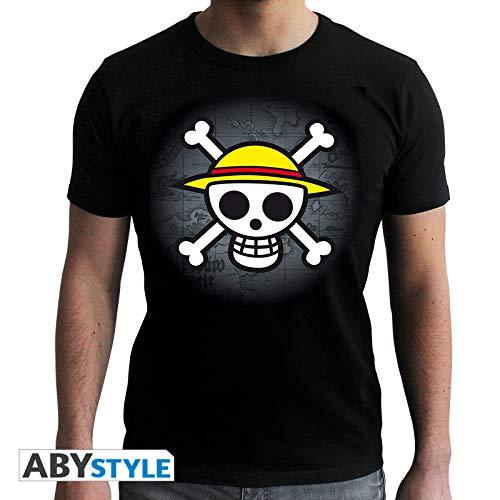 ABYstyle ABYTEX040 - Disfraz de hombre (13 años) (talla L) - Camiseta One Piece Calavera con mapa negra l