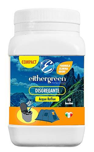 Eithergreen COMPACT - Disgregante elimina odori per acque reflue - per WC portatili da campeggio - 15 bustine da 15g