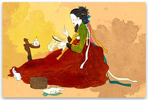 Klassische HD Leinwanddruck Ölgemälde Hanbok Fine Art Poster Wandkunst Bild Korean Elegante Göttin Rahmenlose Malerei 60X80 cm