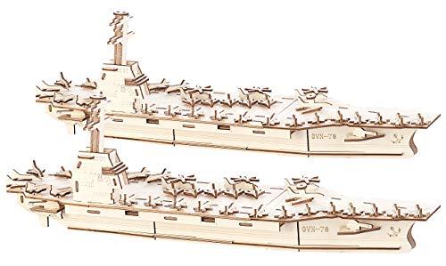 Playtastic Puzzle-Spielzeuge: 2er-Set 3D-Bausätze Flugzeugträger aus Holz, 117-teilig (Holz-Modellbausätze)