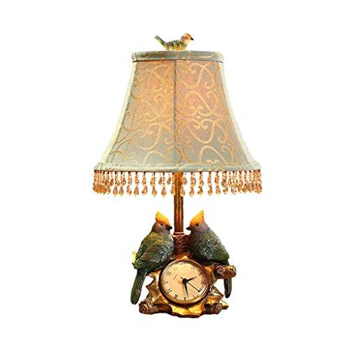 HEAQS Retro decoratieve vogels klokken kunst woonkamer bedlamp, studie leestafellampen voor slaapkamer bureaulamp T-20-4-07
