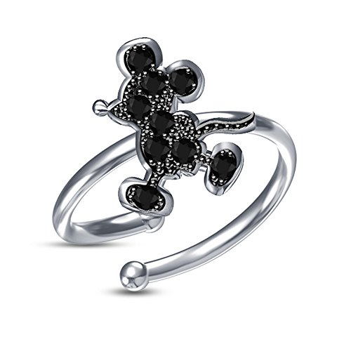Vorra Fashion Anillo ajustable de plata de ley 925 chapada en platino, con circonitas cúbicas negras, diseño de Mickey Mouse
