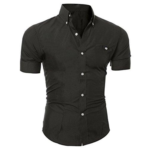 Yvelands ¡La Blusa Superior Delgada de la Camisa de Manga Corta Delgada Elegante del Color Puro Hombres, liquidación Barata! (Negro, XL)