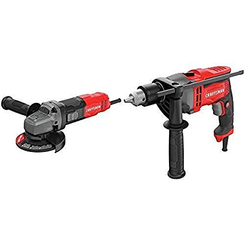 CRAFTSMAN Small Angle Grinder Tool, 4-1/2-Inch, 6-Amp with Drill/Driver, 7-Amp, 1/2-Inch (CMEG100 & CMED741)