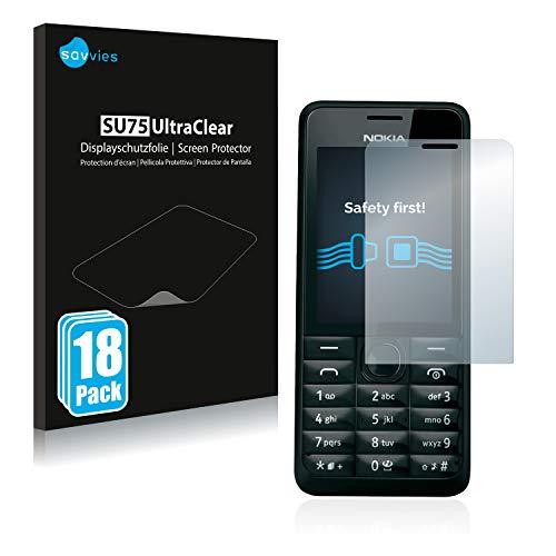 savvies 18-Pezzi Pellicola Protettiva Compatibile con Nokia 301 Protezione Schermo Trasparente
