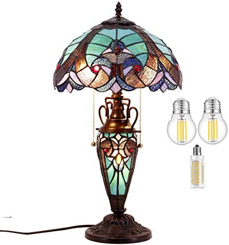 Stained Glass Table Lamp LED Bulb Included W12H22 Inch Antique Tiffany Style Green Liaison Night product image