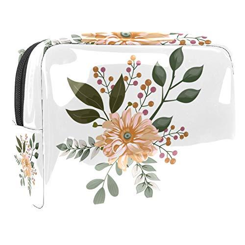 Bolsa de maquillaje portátil con cremallera, bolsa de aseo de viaje para mujeres, práctica bolsa de almacenamiento de cosméticos Daisy elegante