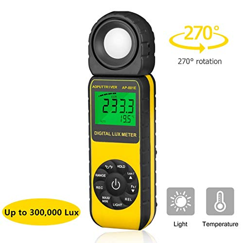 Light meter AP-881E light meter for plants Illuminance meter Lux meters with Display 3999(Range from 1~300,000Lux), Unit Lux/Fc, MAX/MIN,Back Light,Data Hold,Data Storage