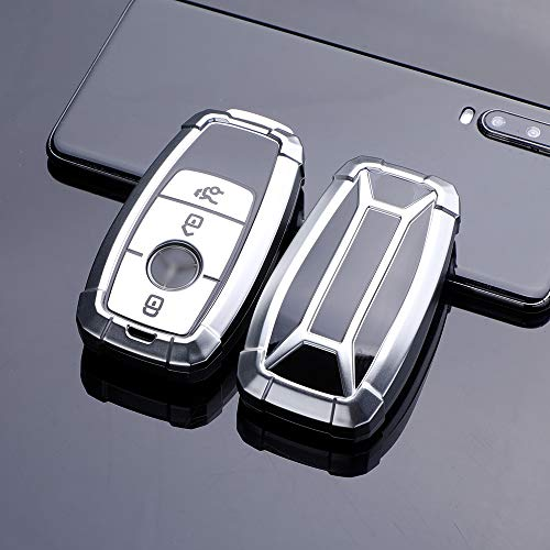 HIBEYO Funda para llave de coche inteligente compatible con Mercedes, carcasa de TPU para Benz Clase E S Clase AMG, caja para llaves con mando a distancia, 3 botones, color plateado