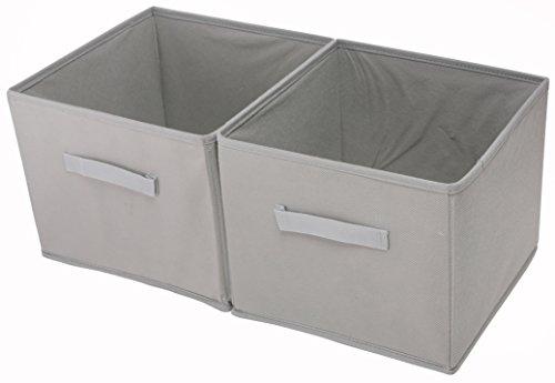 Shinetidy - Organizer per armadio a 4 ripiani, pieghevole, in tessuto set of 2 Cestino grigio