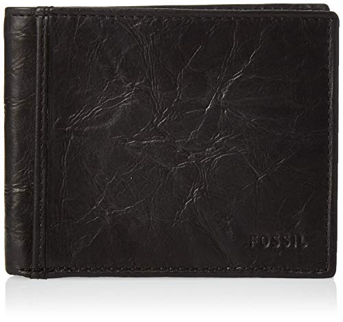 Fossil Men's Ingram Leather RFID blocking Bifold Wallet, Black