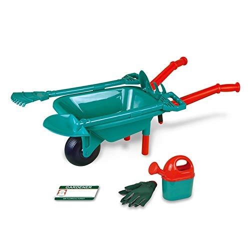 COSMOLINO Gartenset mit Schubkarre, Mit Schaufel, Rechen und Arbeitsshandschuhen, Spielzeug für Kinder ab 3 Jahren