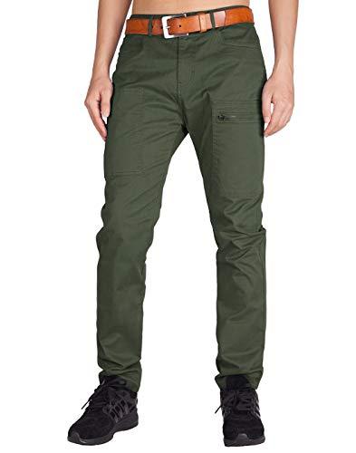 ITALY MORN Pantalón para Hombre Casual Chino Cargo Slim fit 6 Colors (30, Ejercito Verde)