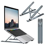 Nulaxy Laptop Stand, Portable Computer Laptop Mount, Aluminum Laptop Riser with 6 Levels Height Adjustment, Fully Collapsible, Supports up to 44lbs (A-Space Gray)
