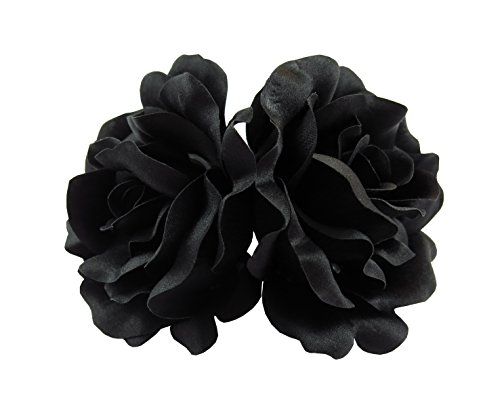 Black Rose Flower Barrette Hair Clip