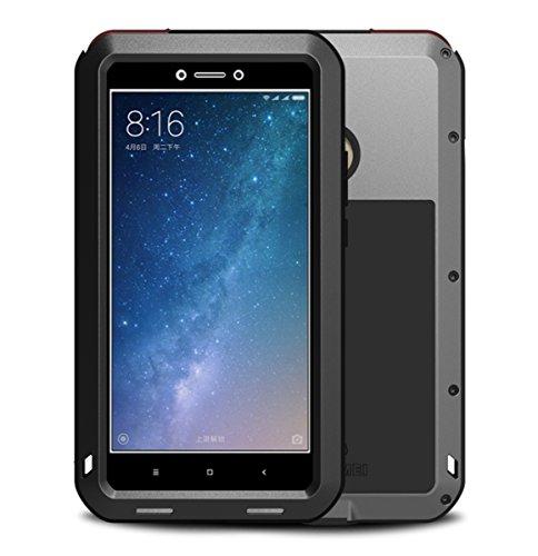 Xiaomi Mi Max 2 Funda, Love Mei Metal [Aluminio] y Silicona Antigolpes [Ultra Resistente] Antichoque Protector de Pantalla [Cristal Gorila Glass] Antipolvo compatible Carga Inalámbrica - Negro