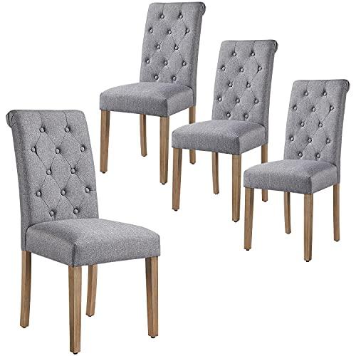 Yaheetech 4X Esszimmerstühle Küchenstuhl Polsterstuhl mit hoher Rückenlehne, Beine aus Massivholz, gepolsterte Sitzfläche aus Leinen Dunkelgrau