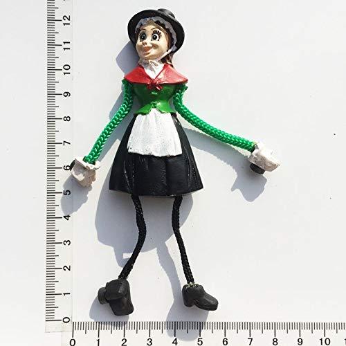 XINTIAN Imán para nevera con diseño de chica como niños, colorido recuerdo de Alemania, dibujos animados de forma humana, manualidades, resión, regalo de decoración de pasta (color: 1 unidad)