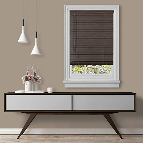 Achim Home Furnishings, Mahogany Cordless GII Madera Falsa 2' Faux Wood Plantation Blind 27' x 64'