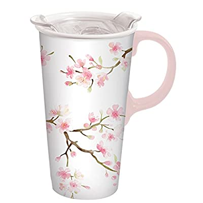 Pink Flowers On White Ceramic Travel Tumbler