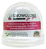 Snowglobe for You 50008 - Bola de nieve con foto y base transparente (9 cm), diseño de nieve y purpurina