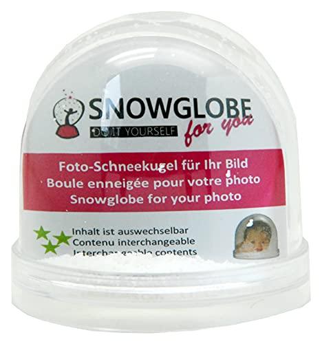 SNOWGLOBE for you - 50008 Foto-Schneekugel groß mit Bild und Sockel transparent - Inhalt: Schnee und Glitzer - 9 cm