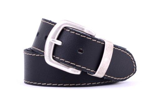 Götz Ledergürtel 401560 4 cm breit Rindleder mit Naht: Farbe: 20-schwarz | Länge: 110