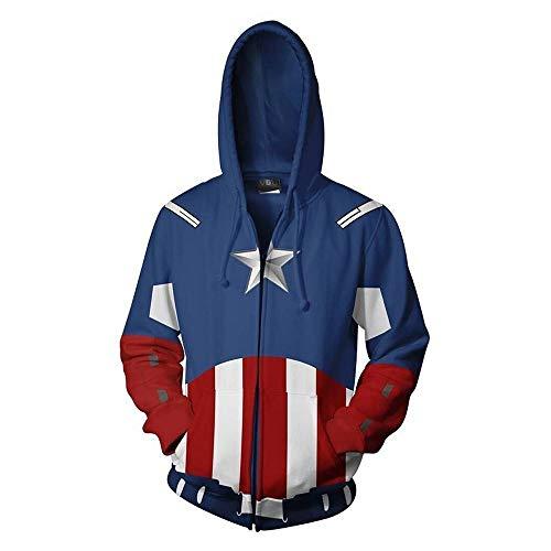 SVFD Sudadera con Capucha Avengers 4 para Hombre Sudadera con Capucha Capitán América Chaqueta con Capucha y Cremallera Sudadera con Estampado gráfico Quantum Pullover MCU Movie Superhero A-4X-Larg