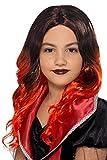 Smiffys 49126 Kinder-Perücke, Mädchen, schwarz/rot, Einheitsgröße
