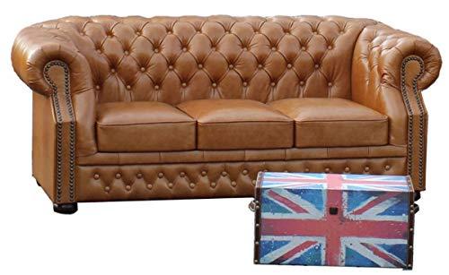 Preisvergleich Produktbild Casa Padrino Echtleder 3er Sofa Hellbraun 210 x 90 x H. 80 cm - Chesterfield Sofa