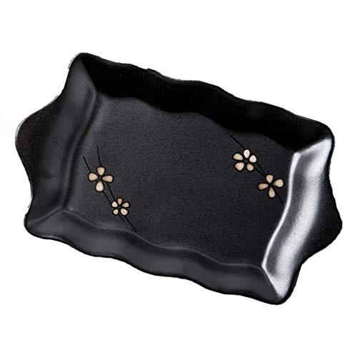 Assiette Vaisselle en Céramique Noire Irrégulière Japonaise 16cm De Poisson À Oreille Double De Sushi Maison De Collations Aux Fruits
