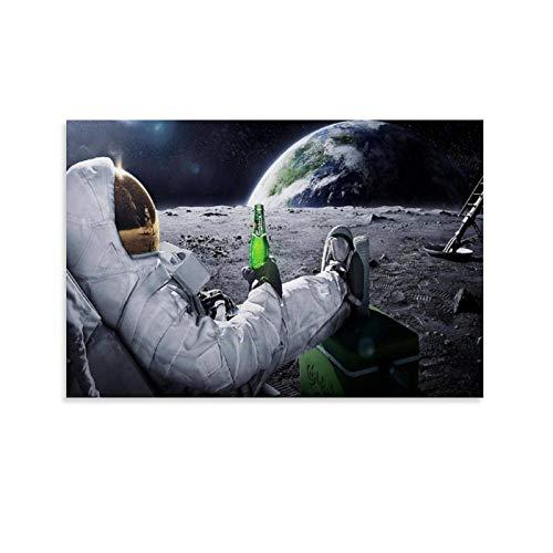 xiaoxian Astronauten und Bier auf dem Mond, Leinwand-Kunst-Poster und Wandkunstdruck, modernes Familienschlafzimmerdekoration, 40 x 60 cm