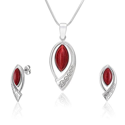 LillyMarie - Set de joyas para mujer, colgante de plata con piedra...