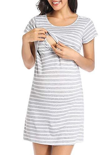 Ritera Umstandsnachthemd/Still-Nachthemd Kurzarm Streifen mit Knopfleiste für Schwangere Frauen Sommer, Grau,M